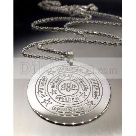 Celcelutiye Vefk Ve İsmi Azam Vefk Bir Arada 3,5 cm  Gümüş Kolye