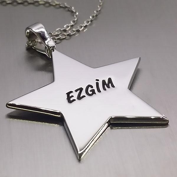 İsimli Yıldız 925 Ayar Gümüş Kolye
