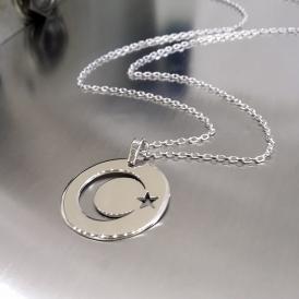 Ay Yıldız Plaka Gümüş Kolye