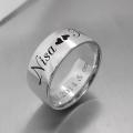 İsimli Yüzük, İsimli Kalpli Gümüş Alyans,Özel Tasarım Söz Nişan Evlilik Alyansı