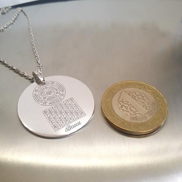 İsmi Azam Vefki Celcelutiye ve Hz Süleyman Mührü Gümüş Kolye