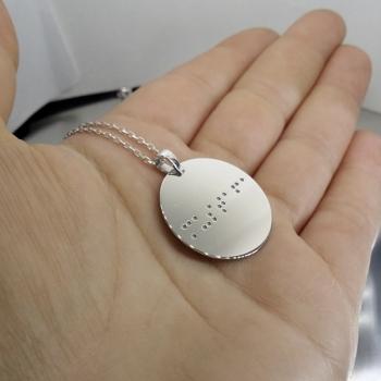 Görme Engelli Braille Alfabesi Gümüş Kolye