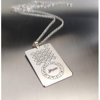 Celcelutiye Vefk Ve İsmi Azam Vefk Vedud Vefki Hurufu Mukatta Bir Arada Gümüş Kolye