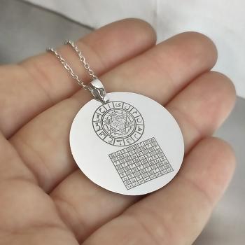Celcelutiye İsmi Azam Vefki Hz Süleyman Mührü Hurufu Mukatta Gümüş  Kolye