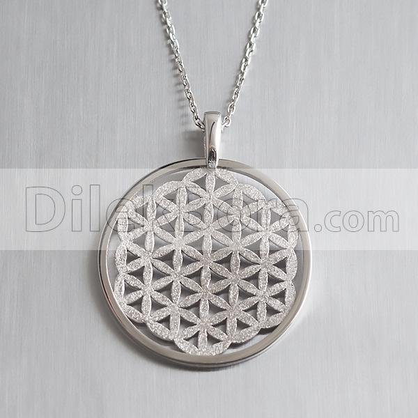 Flower of Life Yaşam Çiçeği Sembolü Gümüş Kolye